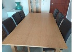 Dining room table and leather chairs solid oak