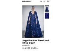 Sapphire Hand embroidered shawl & gown