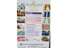 Curtains, bed sheets, roller shades, blinds, carpet