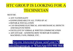 WE ARE LOOKING FOR TECHNICIAN