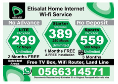 Home Wifi & TV Connection - 2 Month Free Starting AED 299