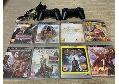 PlayStation 3 with 2 controller and 8 games